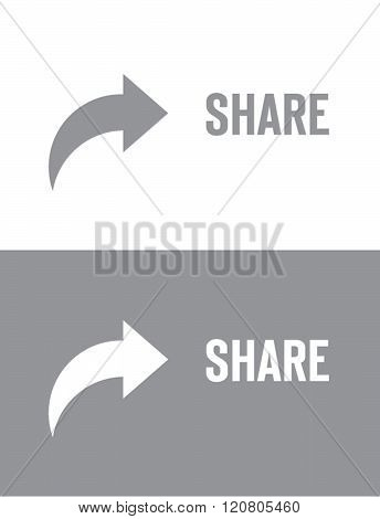 Vector Share Symbol and Icon Set in Grey and Reverse