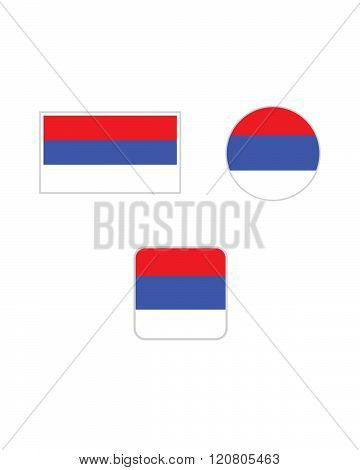 Vector Serbia Flag and Icon Set