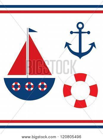 Vector sailing icon and symbol set