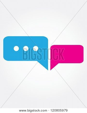 Vector texting conversation bubble Set in Blue and Pink