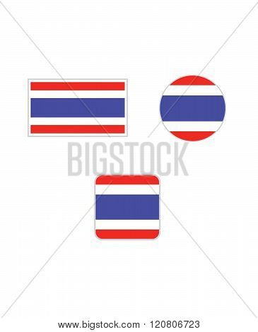 Vector Thailand Flag and Icon Set