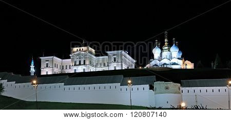 The Walls Of The Kazan Kremlin At Night