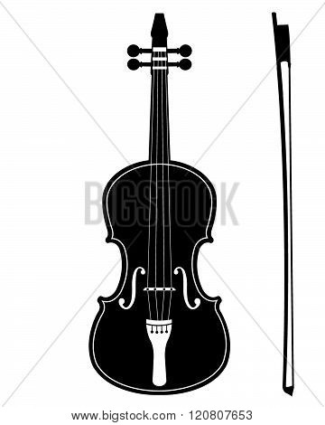 Detailed Vector Violin Silhouette in Black and White