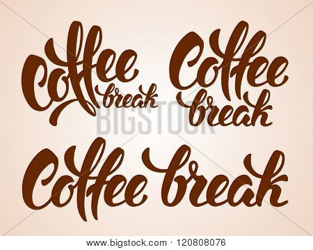 Set of Calligraphy Lettering Inscriptions Coffee Break. Coffee Break Concept. Vector Illustration.