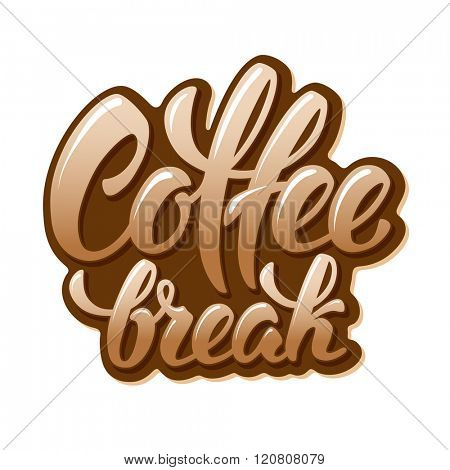 Calligraphy Lettering Inscription Coffee Break. Coffee Break Concept. Vector Illustration. Isolated on White Background.
