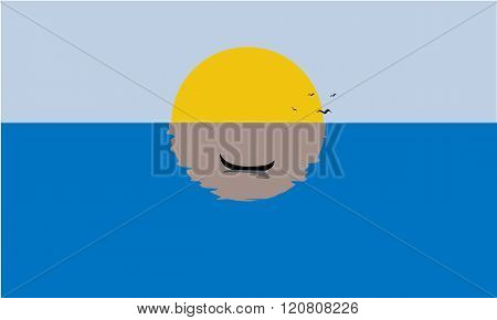 Sailing Boat, Misty Sunset, Reflection on Water. Solid, flat color