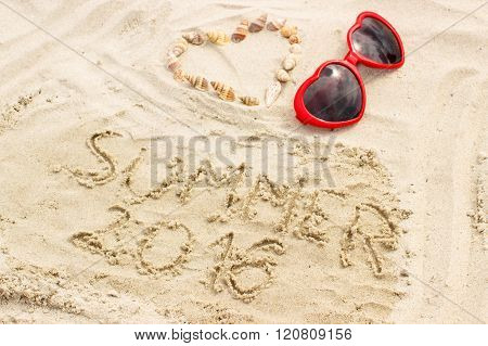 Summer 2016 Drawn On Sand And Heart Of Shells With Sunglasses