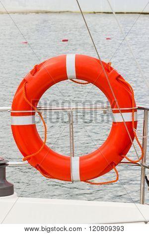 Yachting, Orange Lifebuoy On Sailboat, Safety Travel
