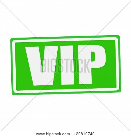 an images of VIP white stamp text on green