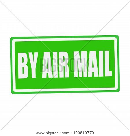 BY AIR MAIL white stamp text on green