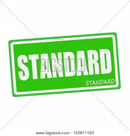 an images of STANDARD white stamp text on green