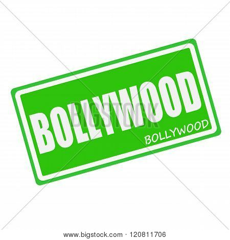 an images of BOLLYWOOD white stamp text on green