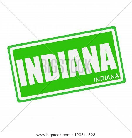an images of INDIANA white stamp text on green