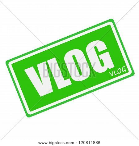 an images of VLOG white stamp text on green
