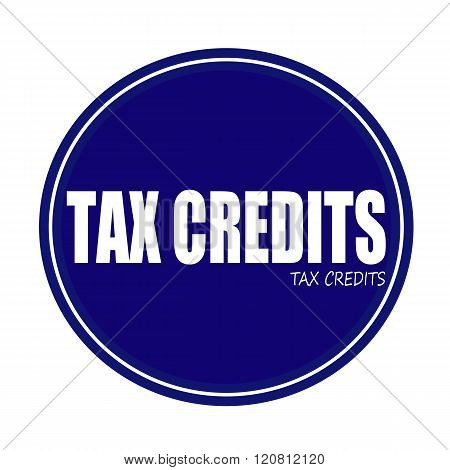 TAX CREDITS white stamp text on blue