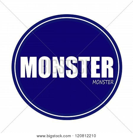 an images of MONSTER white stamp text on blue