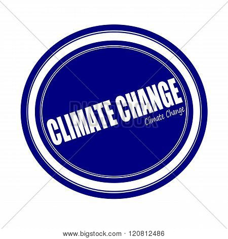 CLIMATE CHANGE white stamp text on blue