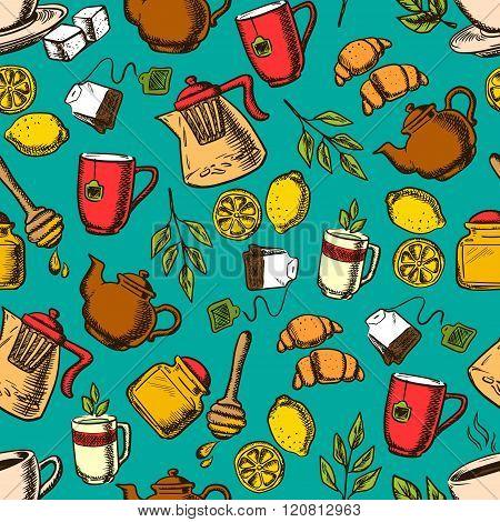 Herbal tea seamless pattern background