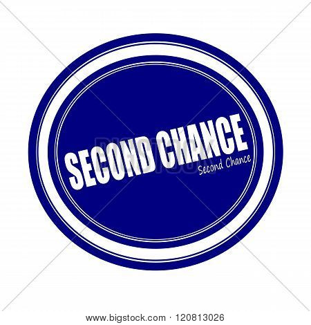 SECOND CHANCE white stamp text on blue