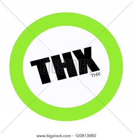 an images of THX black stamp text on green