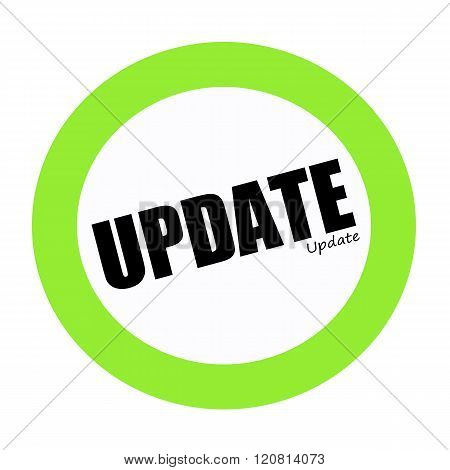 an images of UPDATE black stamp text on green
