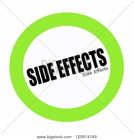SIDE EFFECTS black stamp text on white