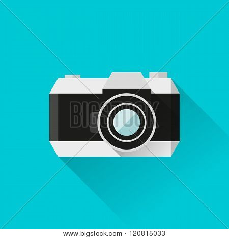 Vector eps10 illustration reflex film camera icon in flat style with long shadows
