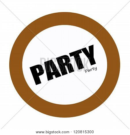 an images of PARTY black stamp text on white