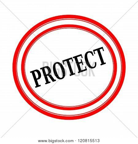 PROTECT black stamp text on white backgroud