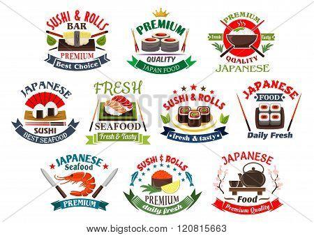 Japanese restaurant and sushi bar icons