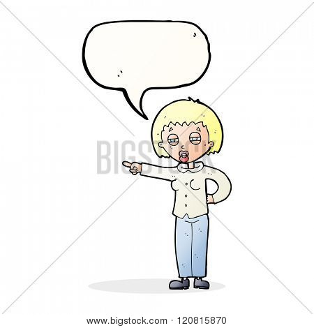cartoon woman telling off with speech bubble