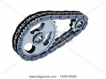 Bicycle chain closeup isolated on white background. 3d illustrat