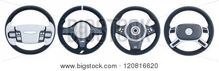 Different steering wheels isolated on white background. 3d rende