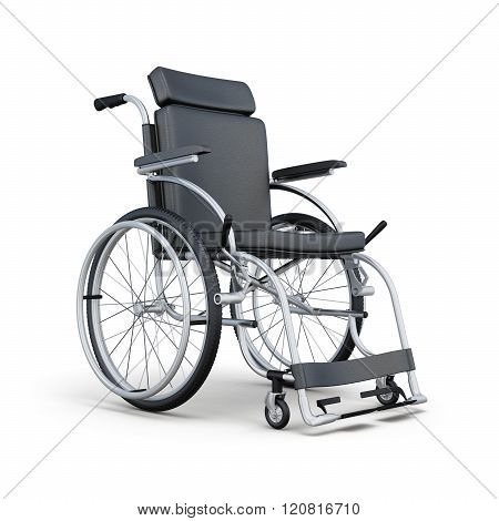 Wheelchair isolated on white background. 3d rendering