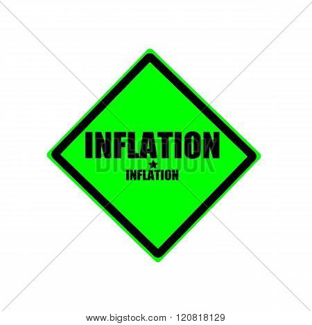 Inflation black stamp text on green background