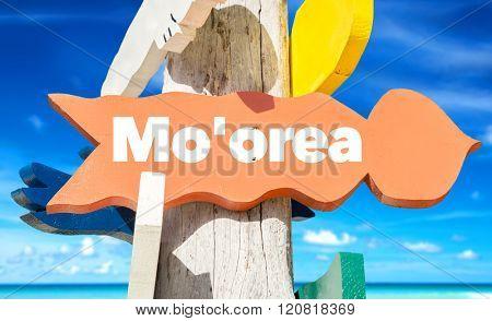 Mo'orea direction sign with beach
