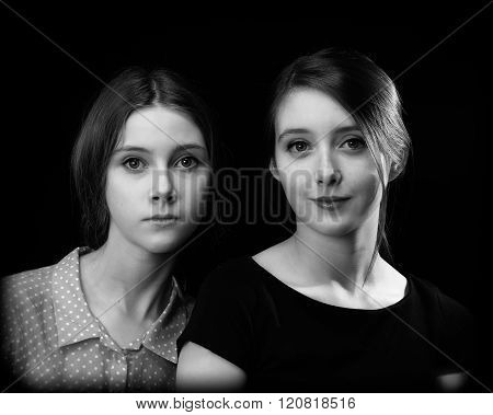 Gorgeous girls, teenagers - twin sisters