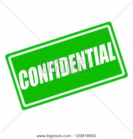 Confidential white stamp text on green background