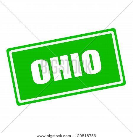 Ohio white stamp text on green background