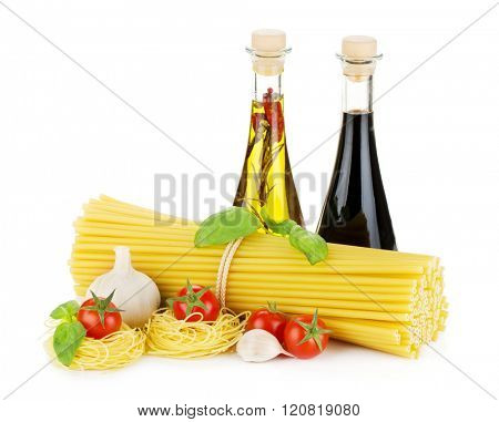Pasta, tomatoes, basil, olive oil, vinegar and garlic. Isolated on white background