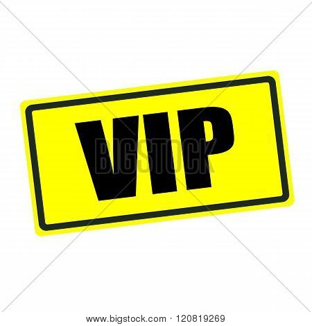 VIP back stamp text on yellow background