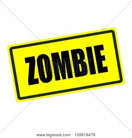 Zombie back stamp text on yellow background