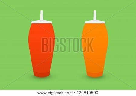 Ketchup and mustard bootles