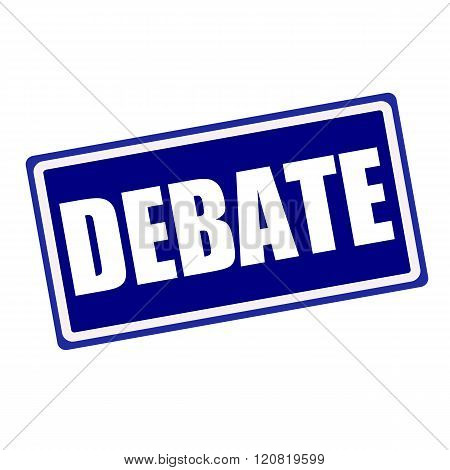 Debate white stamp text on blue background