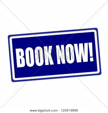 Book now white stamp text on blue background