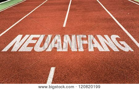 Fresh Start (in German) written on running track