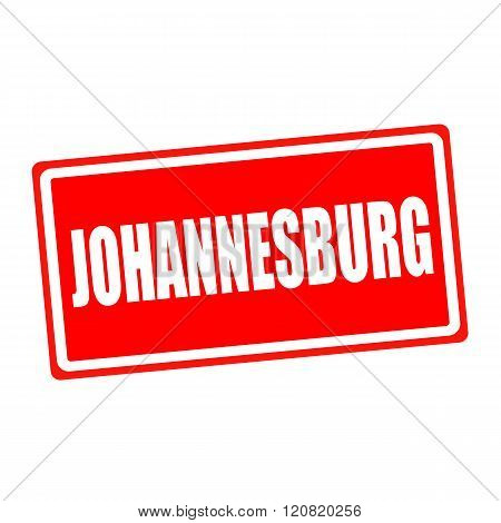 Johannesburg white stamp text on red backgroud
