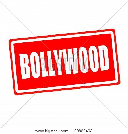 Bollywood white stamp text on red backgroud