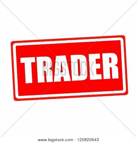 Trader white stamp text on red backgroud