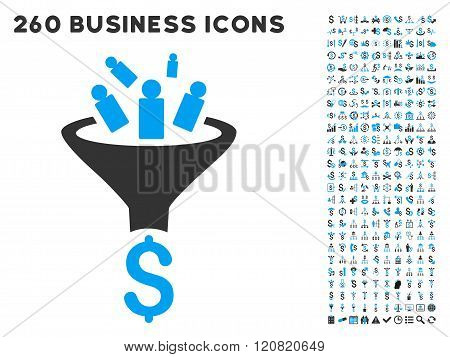 Sales Funnel Icon with Flat Vector Set